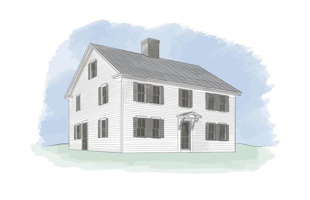 Desenho de ilustração de casa desenhada à mão