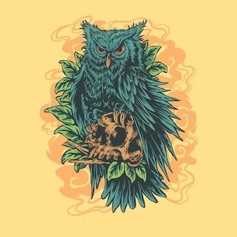 Desenho de ilustração de caveira de coruja