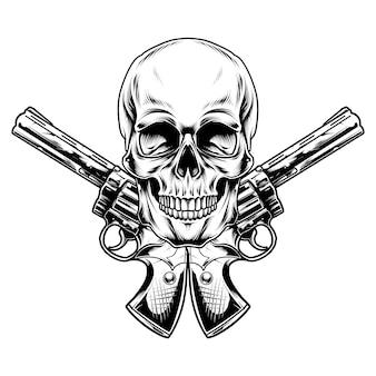 Desenho de ilustração de caveira e arma