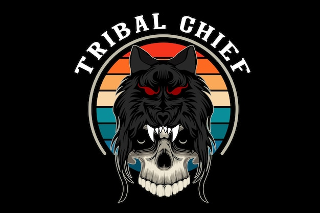 Desenho de ilustração de chefe tribal crânio com lobo