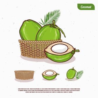 Desenho de ilustração de coco no balde