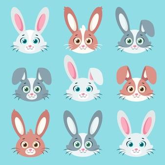 Desenho de ilustração de coleção de coelhos fofos