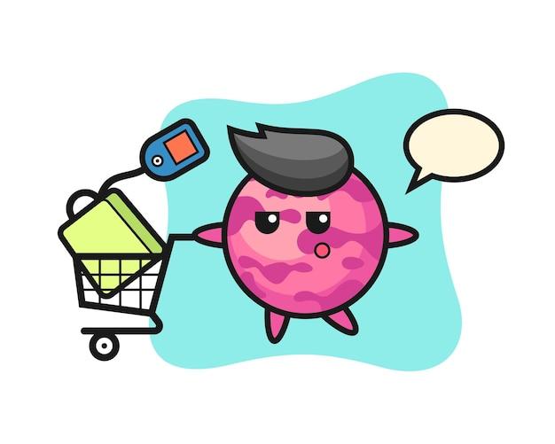 Desenho de ilustração de colher de sorvete com um carrinho de compras, design de estilo fofo para camiseta, adesivo, elemento de logotipo