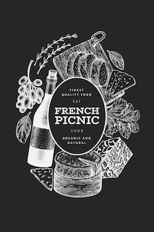 Desenho de ilustração de comida francesa