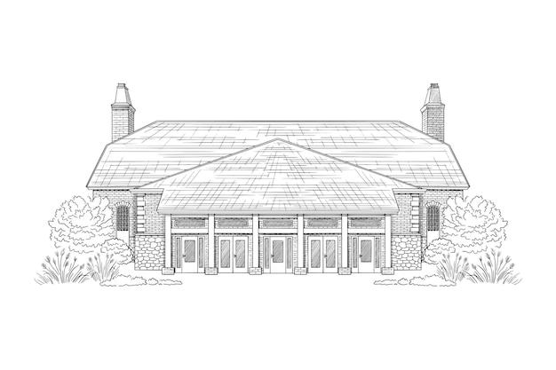 Desenho de ilustração de construção desenhada à mão