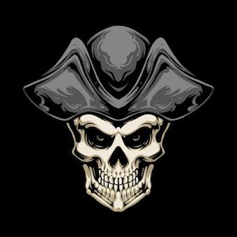 Desenho de ilustração de crânio de chapéu de pirata