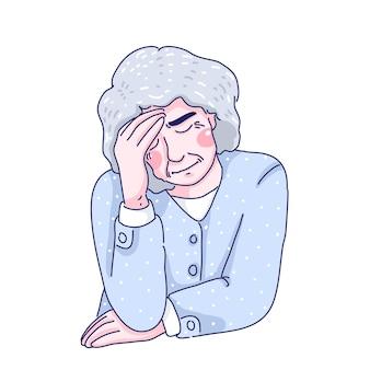 Desenho de ilustração de desenho animado de mulher idosa