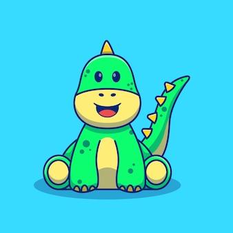 Desenho de ilustração de dinossauro fofo sentado