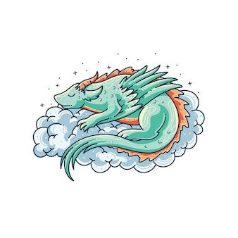 Desenho de ilustração de dragão fofo adormecido