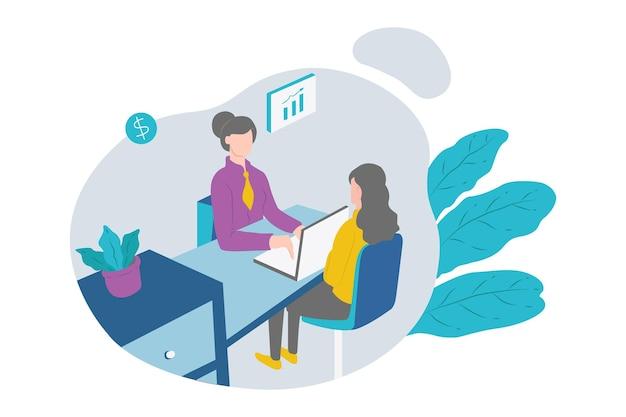 Desenho de ilustração de esboço de mulher em consulta bancária
