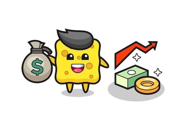 Desenho de ilustração de esponja segurando um saco de dinheiro, design de estilo fofo para camiseta, adesivo, elemento de logotipo