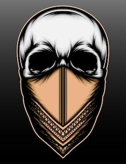 Desenho de ilustração de esqueleto de máfia desenhada à mão