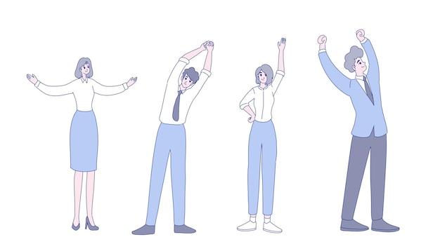 Desenho de ilustração de exercícios de trabalhadores