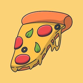 Desenho de ilustração de fatia de pizza com queijo derretido e muito saboroso. projeto de alimento isolado.