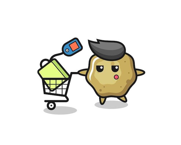Desenho de ilustração de fezes soltas com um carrinho de compras, design de estilo fofo para camiseta, adesivo, elemento de logotipo