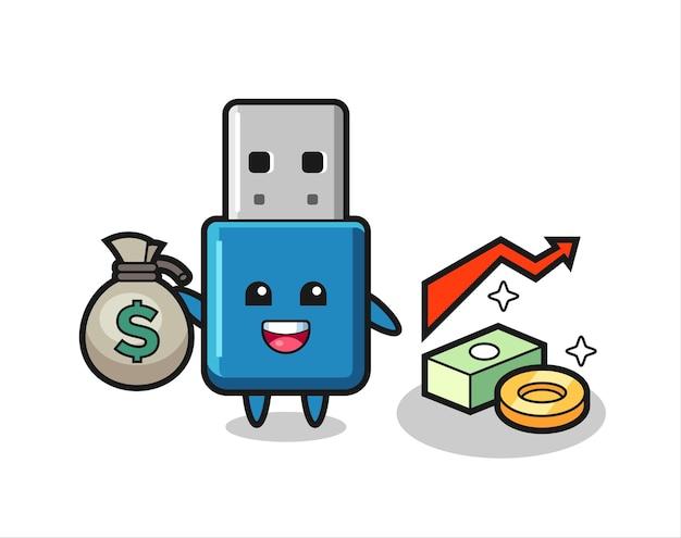 Desenho de ilustração de flash drive usb segurando um saco de dinheiro, design de estilo fofo para camiseta, adesivo, elemento de logotipo