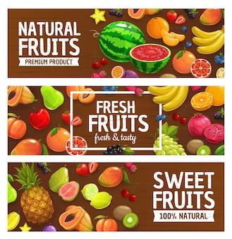 Desenho de ilustração de frutas frescas e bagas