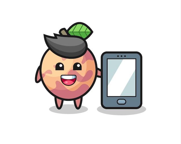 Desenho de ilustração de frutas pluot segurando um smartphone, design de estilo fofo para camiseta, adesivo, elemento de logotipo