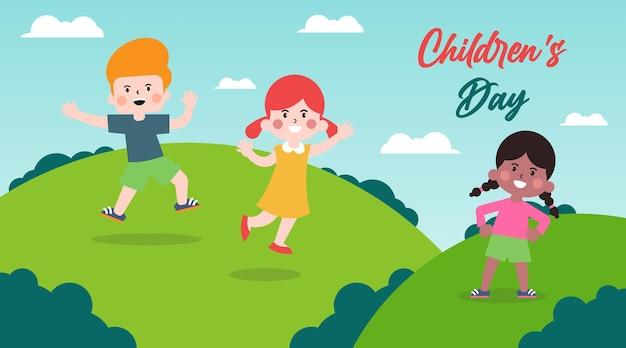 Desenho de ilustração de fundo feliz dia das crianças