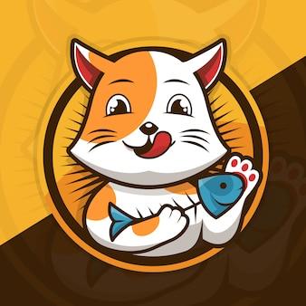 Desenho de ilustração de gato comendo peixe