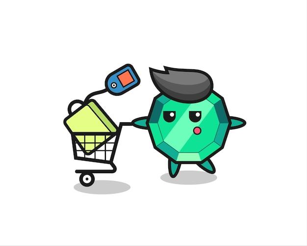 Desenho de ilustração de gema esmeralda com um carrinho de compras, design de estilo fofo para camiseta, adesivo, elemento de logotipo