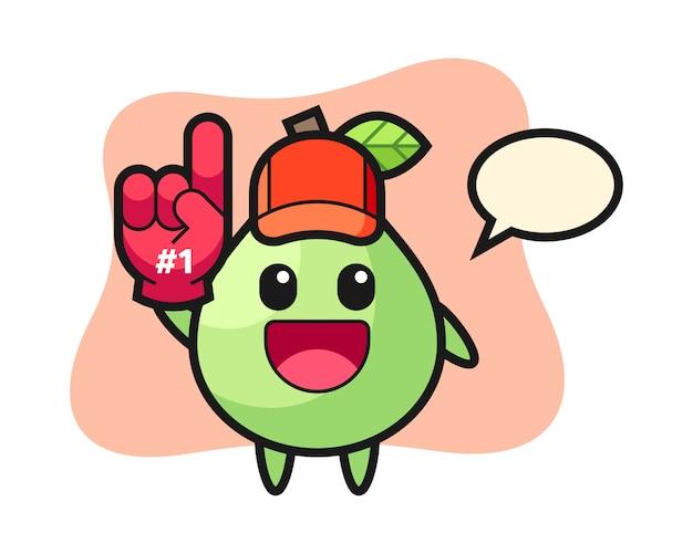 Desenho de ilustração de goiaba com luva de fãs número 1, estilo bonito para camiseta, adesivo, elemento de logotipo