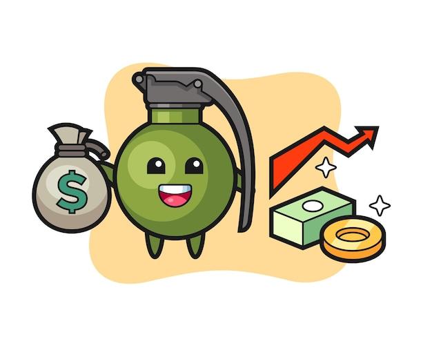Desenho de ilustração de granada segurando um saco de dinheiro, design de estilo fofo para camiseta, adesivo, elemento de logotipo