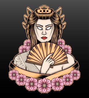 Desenho de ilustração de gueixa com flores