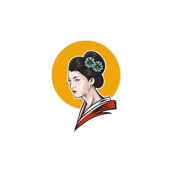 Desenho de ilustração de gueixa