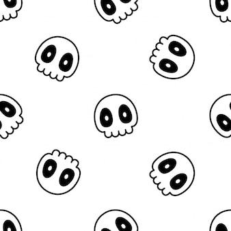 Desenho de ilustração de halloween padrão sem emenda de crânio cruzado