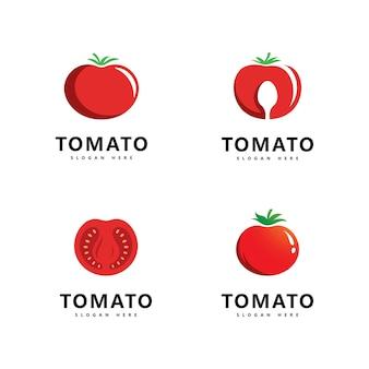 Desenho de ilustração de ícone de vetor de logotipo de tomate