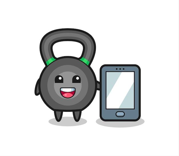 Desenho de ilustração de kettlebell segurando um smartphone, design de estilo fofo para camiseta, adesivo, elemento de logotipo