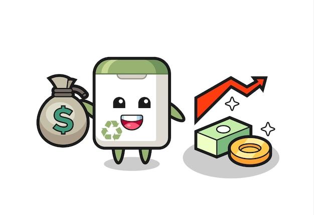 Desenho de ilustração de lata de lixo segurando um saco de dinheiro, design de estilo fofo para camiseta, adesivo, elemento de logotipo