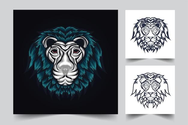 Desenho de ilustração de leões fofos