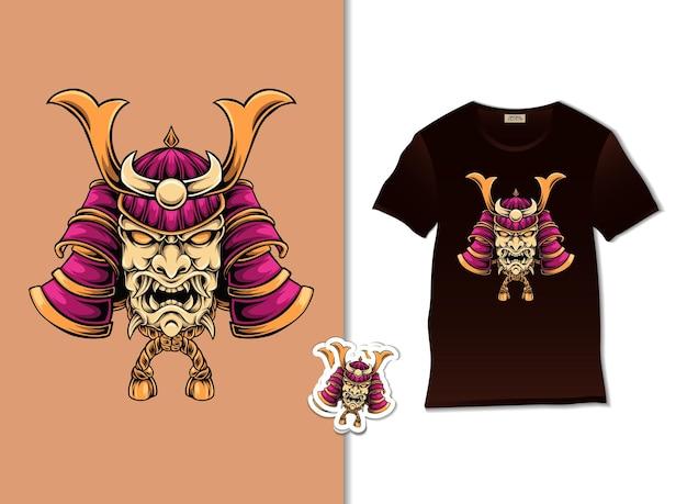 Desenho de ilustração de lindo demônio samurai