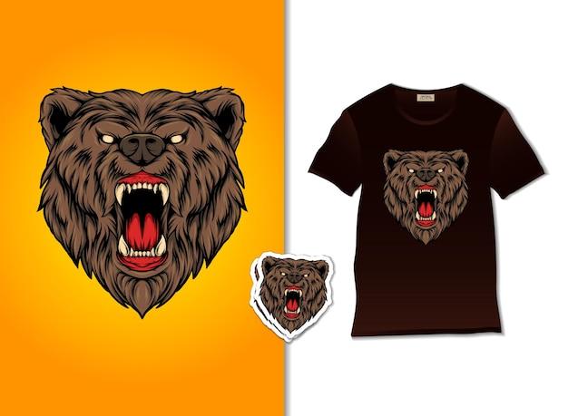 Desenho de ilustração de lindo urso zangado