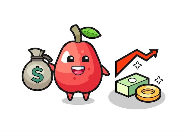 Desenho de ilustração de maçã d'água segurando um saco de dinheiro, design de estilo fofo para camiseta, adesivo, elemento de logotipo