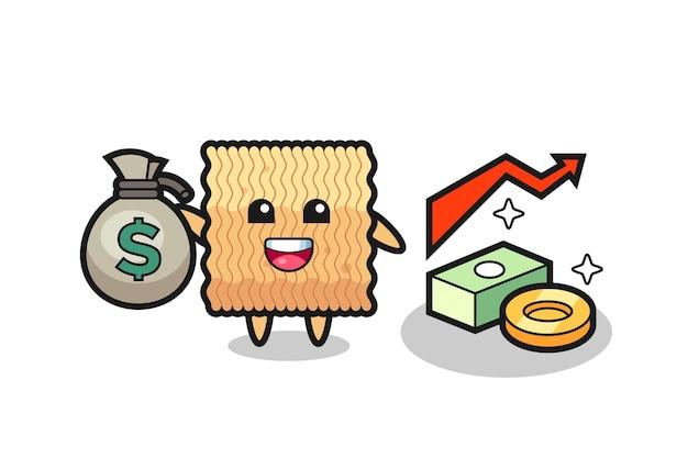 Desenho de ilustração de macarrão instantâneo cru segurando um saco de dinheiro, design de estilo fofo para camiseta, adesivo, elemento de logotipo