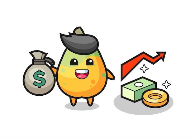 Desenho de ilustração de mamão segurando um saco de dinheiro, design de estilo fofo para camiseta, adesivo, elemento de logotipo