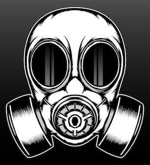 Desenho de ilustração de mão desenhada de máscara de gás retrô