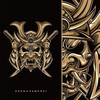 Desenho de ilustração de máscara de demônio oni japonês
