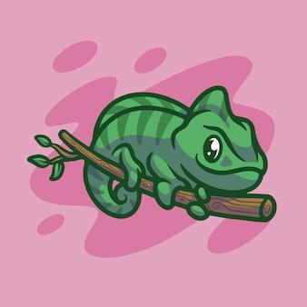 Desenho de ilustração de mascote camaleão fofo