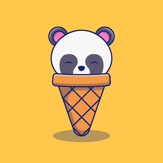 Desenho de ilustração de mascote de sorvete de panda pequeno fofo