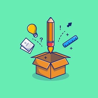Desenho de ilustração de material escolar em uma caixa de papelão