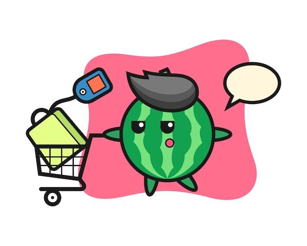 Desenho de ilustração de melancia com um carrinho de compras