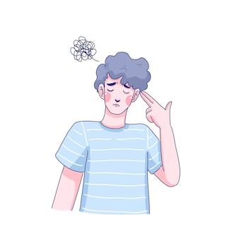 Desenho de ilustração de menino triste