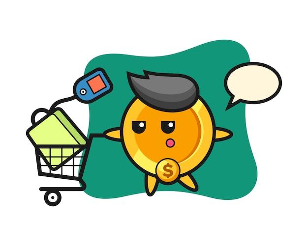 Desenho de ilustração de moeda de dólar com um carrinho de compras