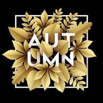 Desenho de ilustração de outono com folhas de outono de corte de papel dourado.