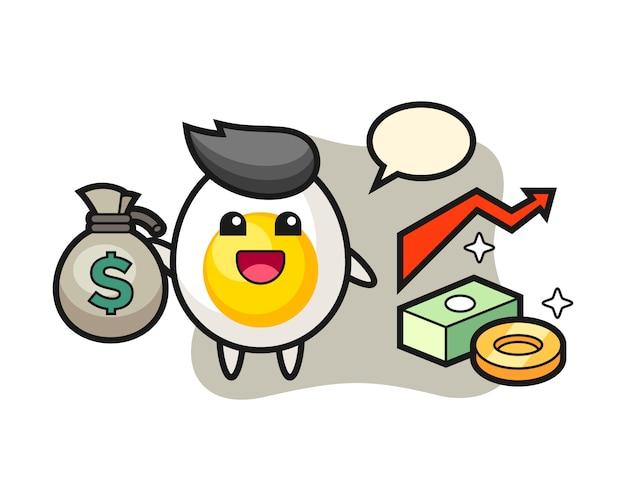 Desenho de ilustração de ovo cozido, segurando o saco de dinheiro