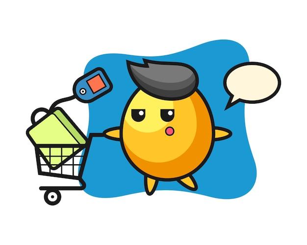 Desenho de ilustração de ovo de ouro com um carrinho de compras, design de estilo bonito